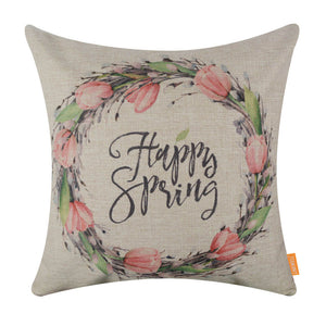 Happy Spring Wreath Decorative Cushion Cover