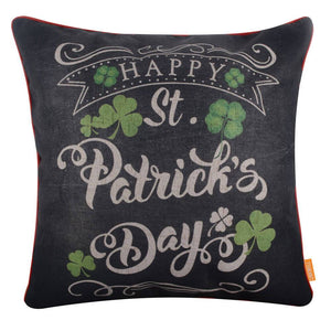 Happy St. Patrick's Day Pillow Cover with Red Binding