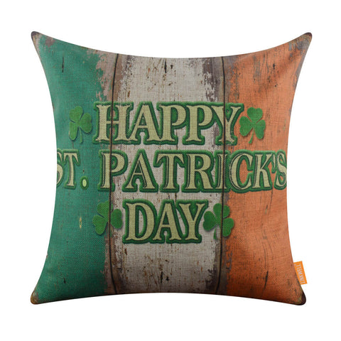 Image of Happy St. Patrick's Day Pillow Cover Blue Orange