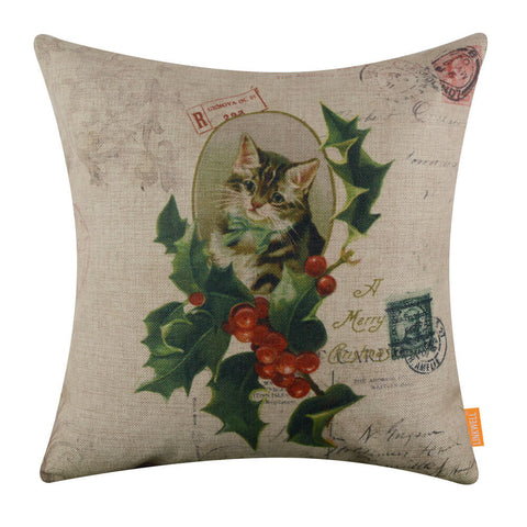 Holly Jolly Cat Pillow Cover