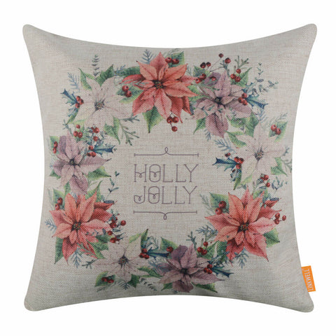 Image of Holly Jolly Wreath Pillow Cover