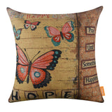 Hope Pink Colorful Butterfly Yellow Pillow Cover