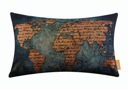 Incredible World Map Handwriting Bolster Vintage Blue Cushion Cover