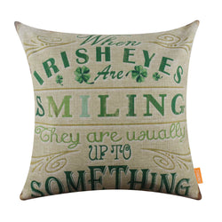Irish Holiday Green Clover Decorative Pillow Cover