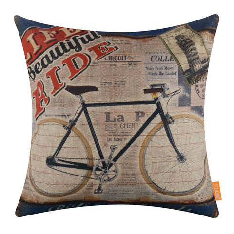Italian Newspaper Bicycle Decorative Pillow Cover