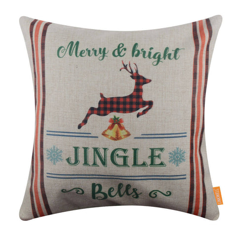 Jingle Bells Merry and Bright Christmas Pillow Cover