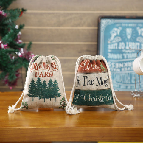LINKWELL Drawstring Bag with Farmhouse Christmas Tree Design