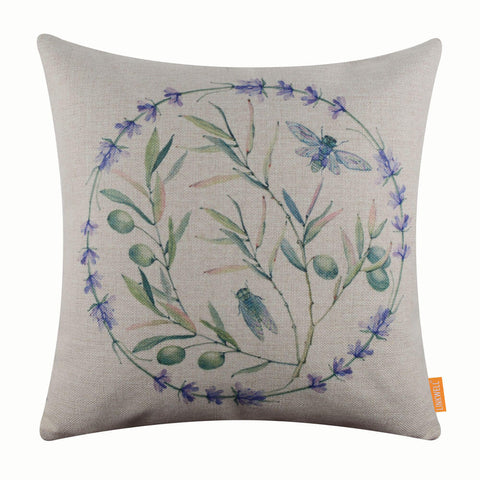 Image of Lavender Wreath Olive Pillow Cover