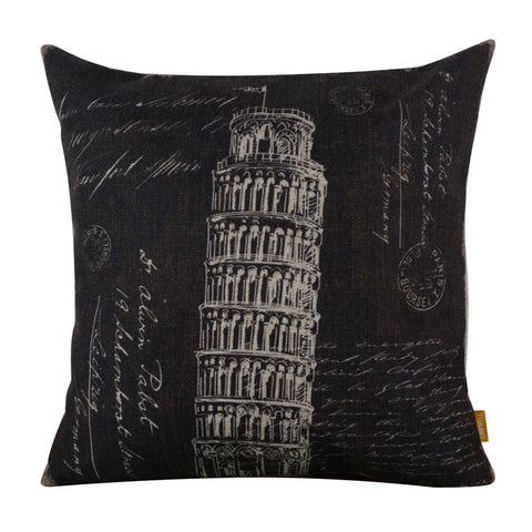 Leaning Tower of Pisa Sketched Monochrome Pillow Cover