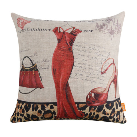 Lepoard Print Red Dress Luxurious Pillow Cover