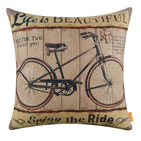 Life is Beautiful Yellow Bike Pillow Cover