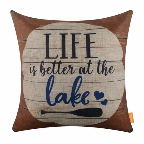 Life is Better at the Lake Brown Pillow Cover