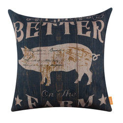 Life is Better on the Farm Pig Throw Pillow Cover 45X45 cm
