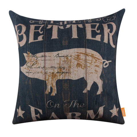 Image of Life is Better on the Farm Pig Throw Pillow Cover 45X45 cm