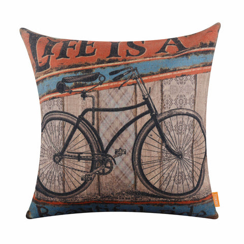 Image of Make Life a Great Journey Bike Pillow Cover