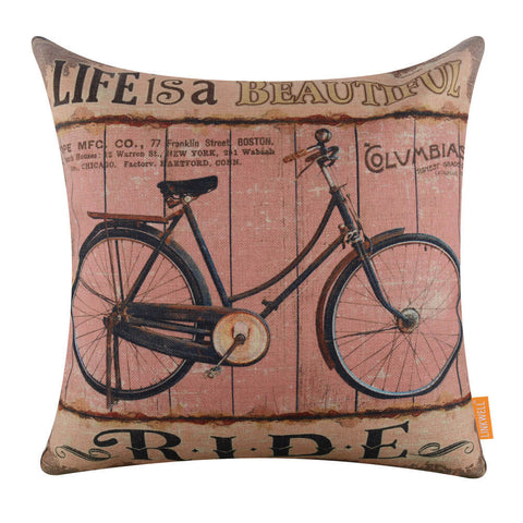 Image of Life is a Beautiful Ride Rustic Bicycle Pillow Cover