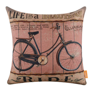Life is a Beautiful Ride Rustic Bicycle Pillow Cover