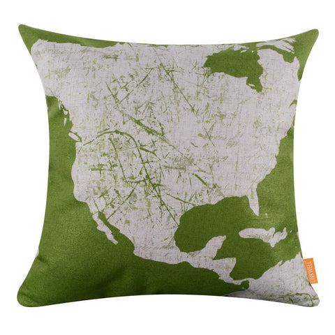Image of Lime Green World Map Square Cushion Cover