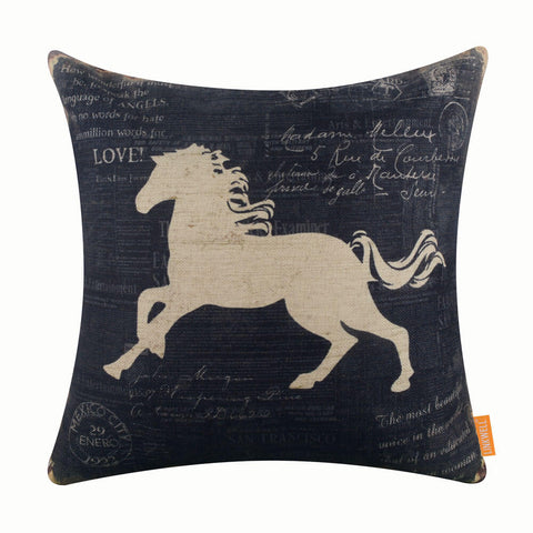 Image of Linkwell Black Horse Cushion Cover