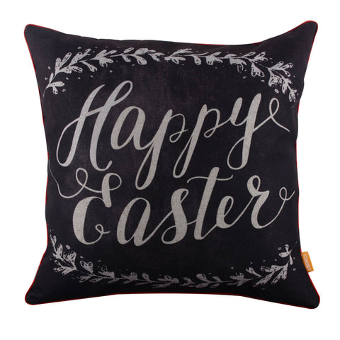 Image of Linkwell Blackboard Art Look Happy Easter Seasonal Pillow Cover with Red Binding