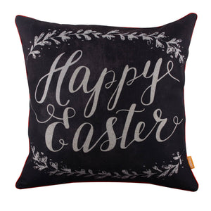 Linkwell Blackboard Art Look Happy Easter Seasonal Pillow Cover with Red Binding