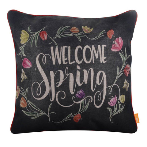 Image of Linkwell Blackboard Art Welcome Spring Pillow Cover 18x18