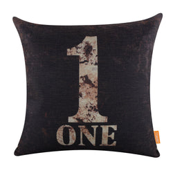 Linkwell Distressed One Black Pillow Cover