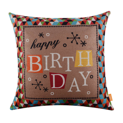 Linkwell Geometric Happy Birthday Pillow Cover