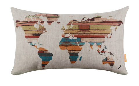 Linkwell Multicolored Wood Look World Map Pillow Cover