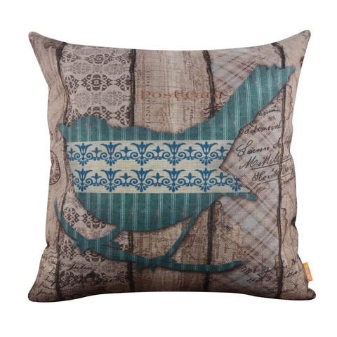 Image of Linkwell Vintage Style Blue Beautiful Bird Pillow Cover