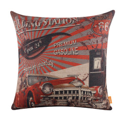 Linkwell Vintage Style Red Car Gas Station Pillow Cover