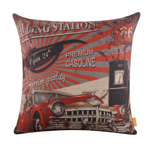 Image of Linkwell Vintage Style Red Car Gas Station Pillow Cover