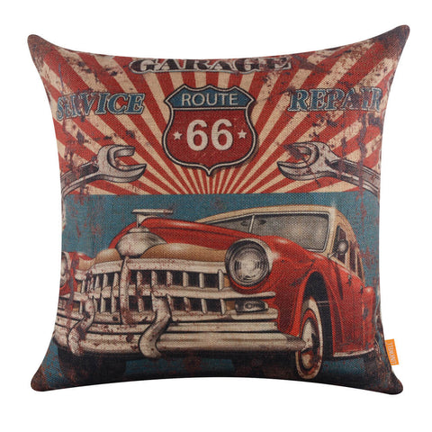 Image of Linkwell Vintage Style Red Car Mechanic Pillow Cover