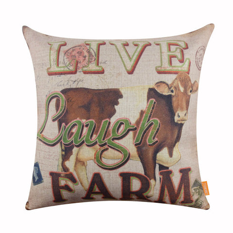 Live Laugh Farm Cow Large Throw Pillow Cover