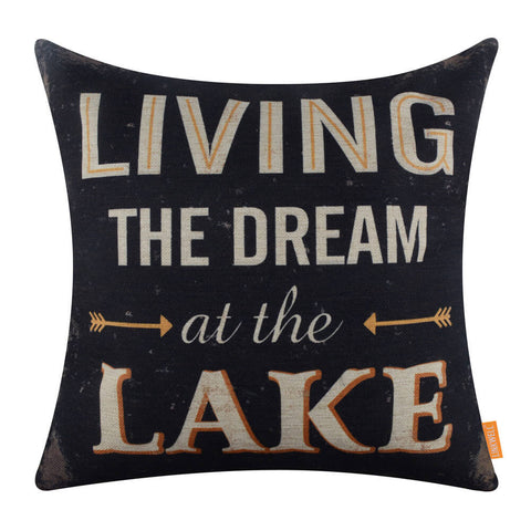 Image of Living the Dream at the Lake Black Decor Pillow Cover