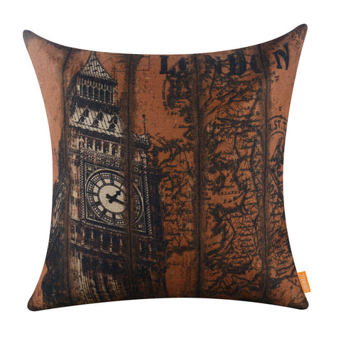 Image of London Big Ben World Map Decorative Pillow Covers for Couch