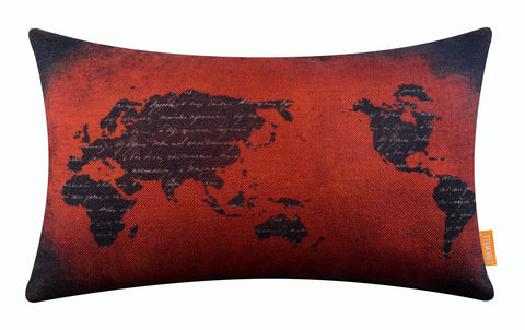 Image of Lovely Handwriting World Map Red Bolster Cushion Cover