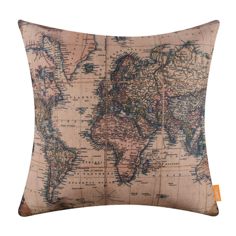 Map of the World Decorative Pillow Cover