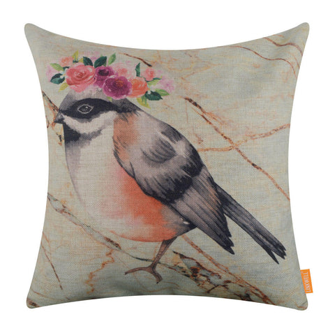 Image of Marble Print Bird Pillow Cover 45x45cm
