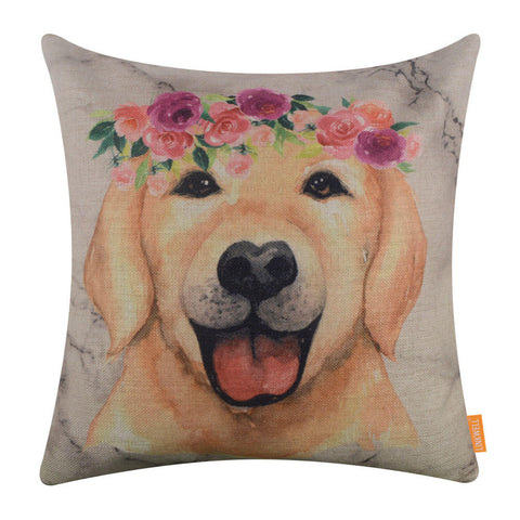 Marble Print Cute Dog Cushion Cover 45x45cm
