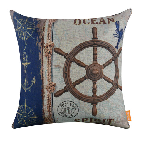 Marine Ship Wheel Pillow Cover