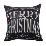 Merry Christmas Pillow Cover with Red Binding