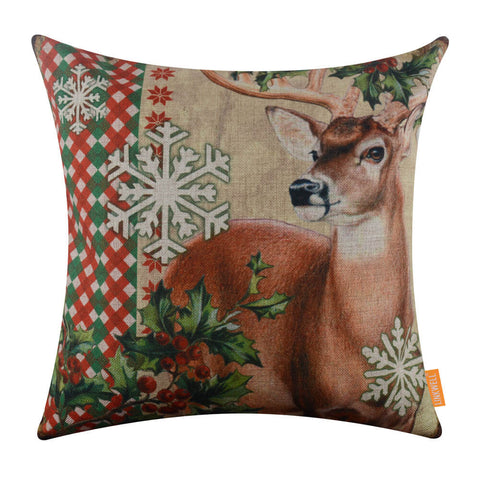 Merry Christmas Reindeer Pillow Cover with Snowflake