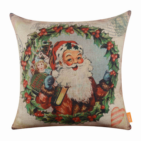 Image of Merry Christmas Santa Claus Pillow Cover for Holiday Gift
