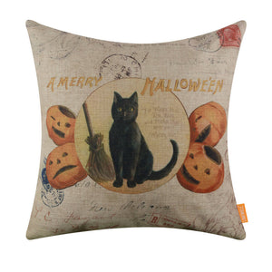 Merry Halloween Black Cat Pillow Cover