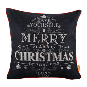 Merry Little Christmas Pillow Cover with Red Binding