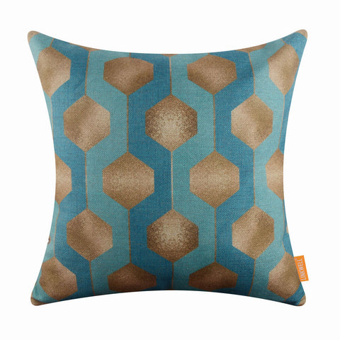 Metallic Gold Blue Patterned Pillow Cover