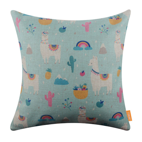 Image of Mexican-themed Llama Tropical Pillow Cover Summer Decor