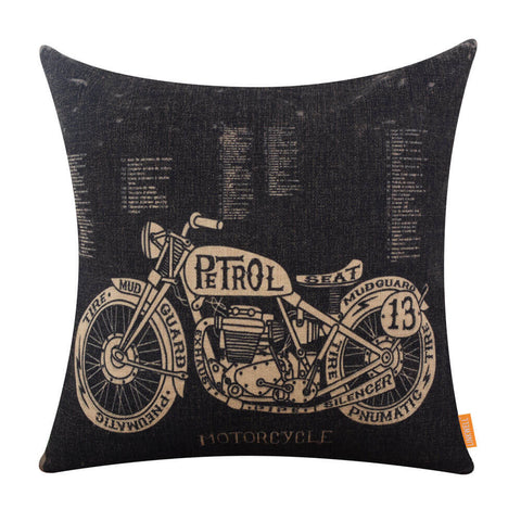 Motorcycle Design Pattern Pillow Cover for Man Cave