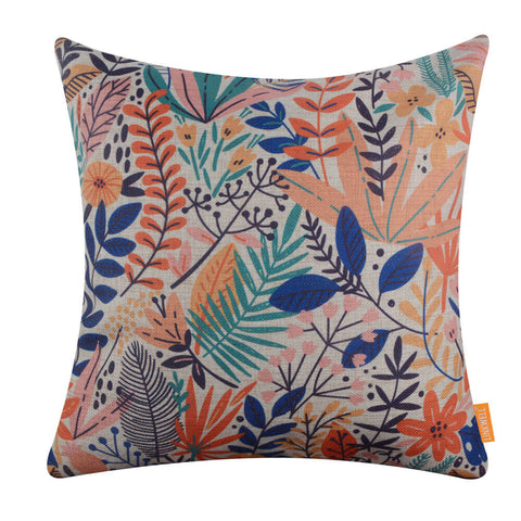 Multicolor Plant Cushion Cover